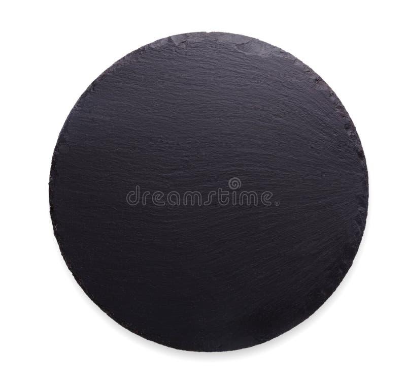 倒空在白色背景隔绝的土气黑板岩石头板材 免版税库存图片