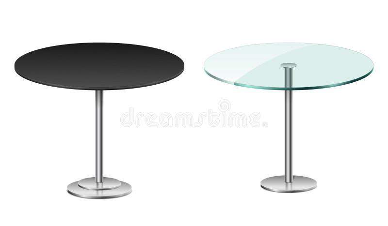 倒空在白色隔绝的现代黑圆桌 与金属立场模板的传染媒介玻璃桌餐馆或咖啡馆的 向量例证