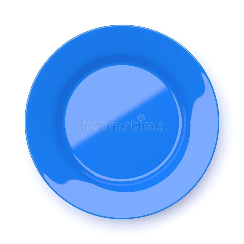 倒空在白色隔绝的蓝色陶瓷圆的板材 库存图片