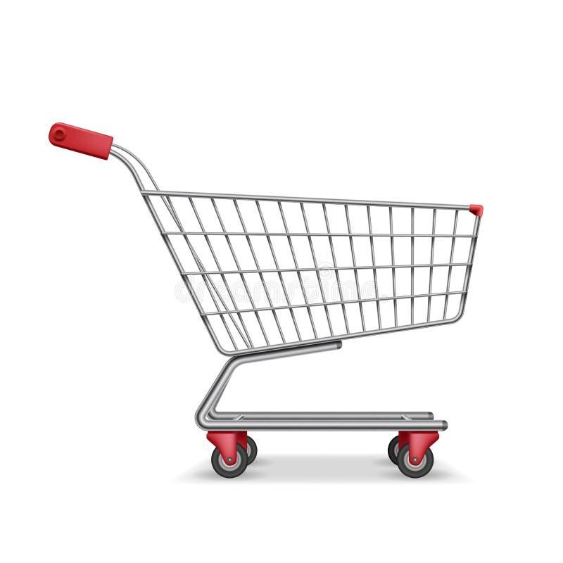 倒空在白色隔绝的金属超级市场购物车侧视图 现实超级市场篮子,零售手推车 库存例证