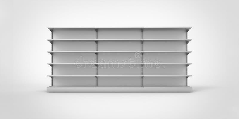 倒空在简单的背景的灰色零售架子 皇族释放例证