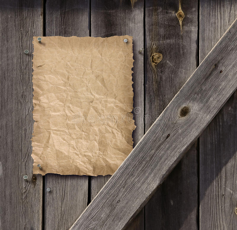 倒空在被风化的板条木头门的被要的海报 库存图片