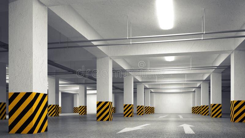 倒空地下停车处摘要内部透视 向量例证