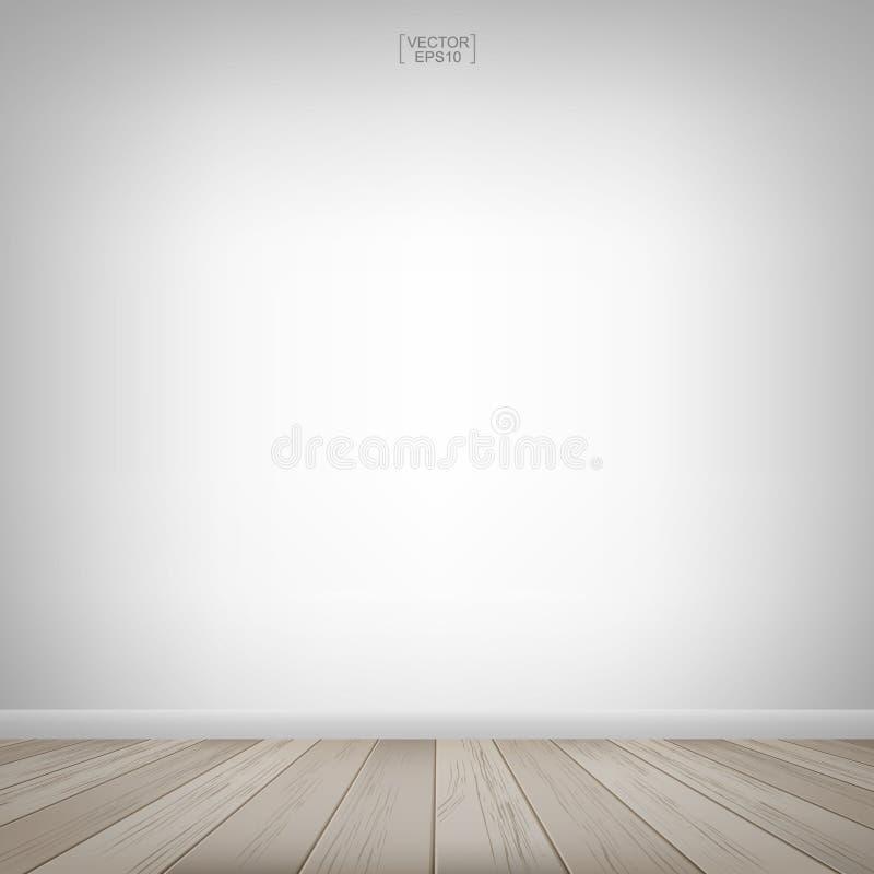 倒空木室空间和白色墙壁背景 也corel凹道例证向量 皇族释放例证