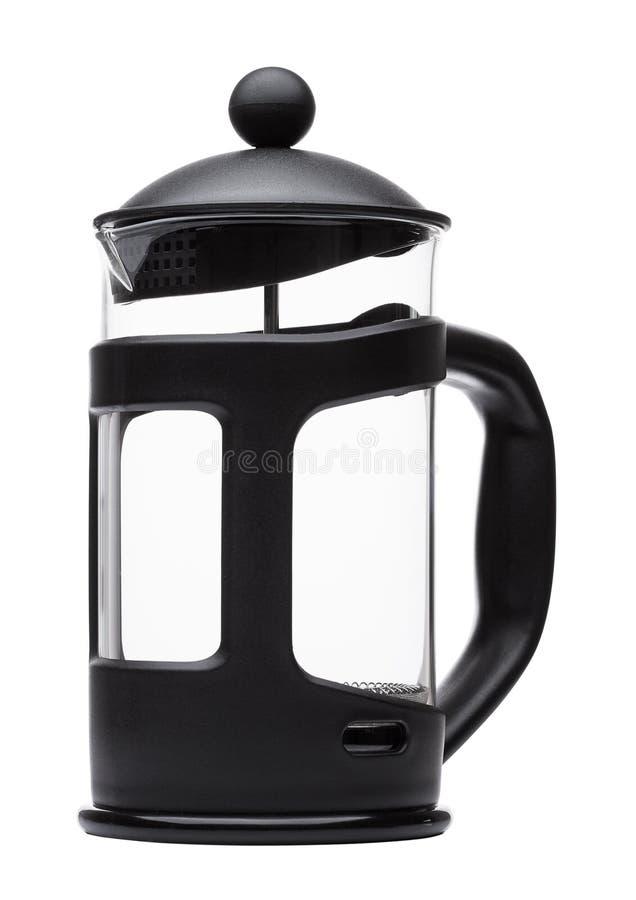 倒空法国人新闻罐在白色隔绝的咖啡壶 免版税库存照片