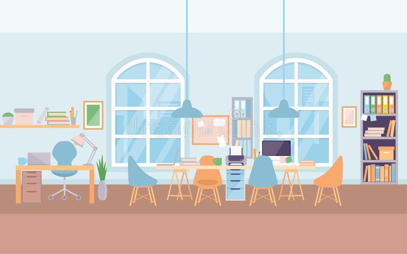 倒空现代共同工作中心大学的办公室内部工作场所书桌 皇族释放例证