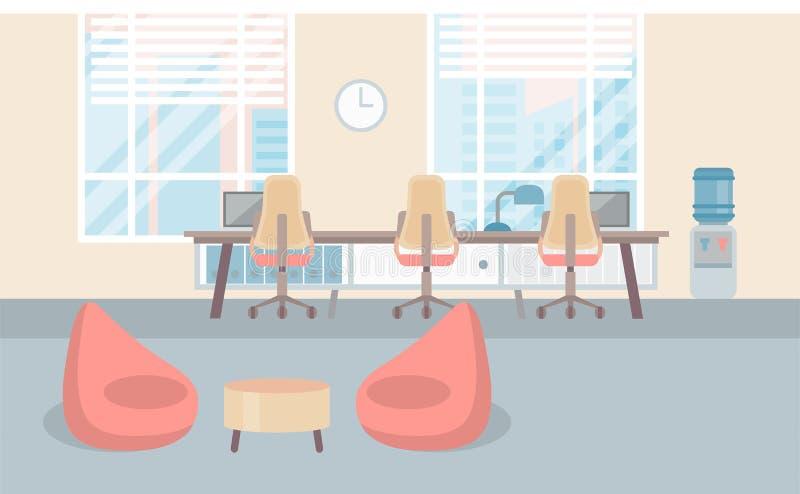 倒空现代共同工作中心大学的办公室内部工作场所书桌 库存例证