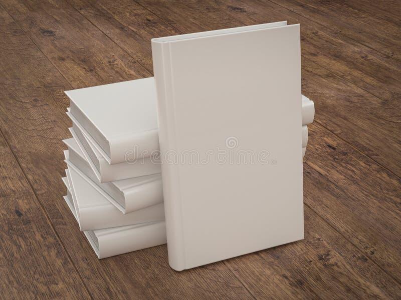 倒空白皮书在木背景的大模型模板 免版税库存照片