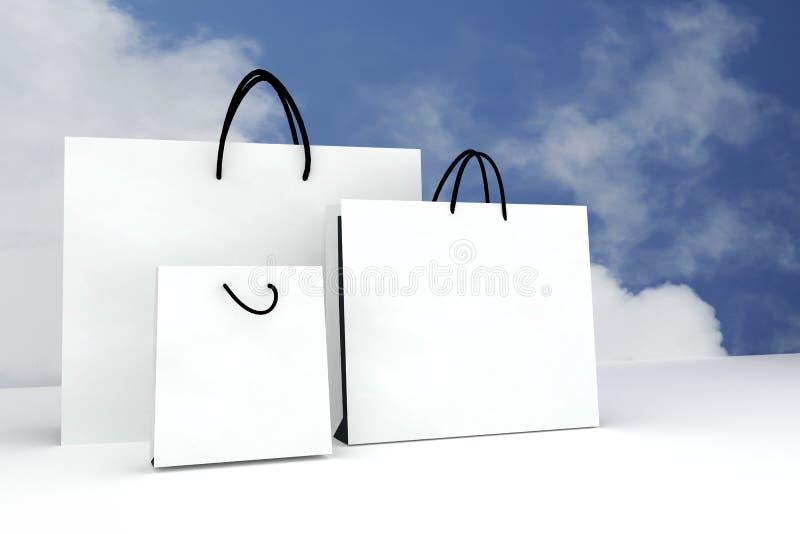 倒空白皮书广告的或烙记的产品的,蓝天背景, 3D翻译例证购物袋的三大小 向量例证