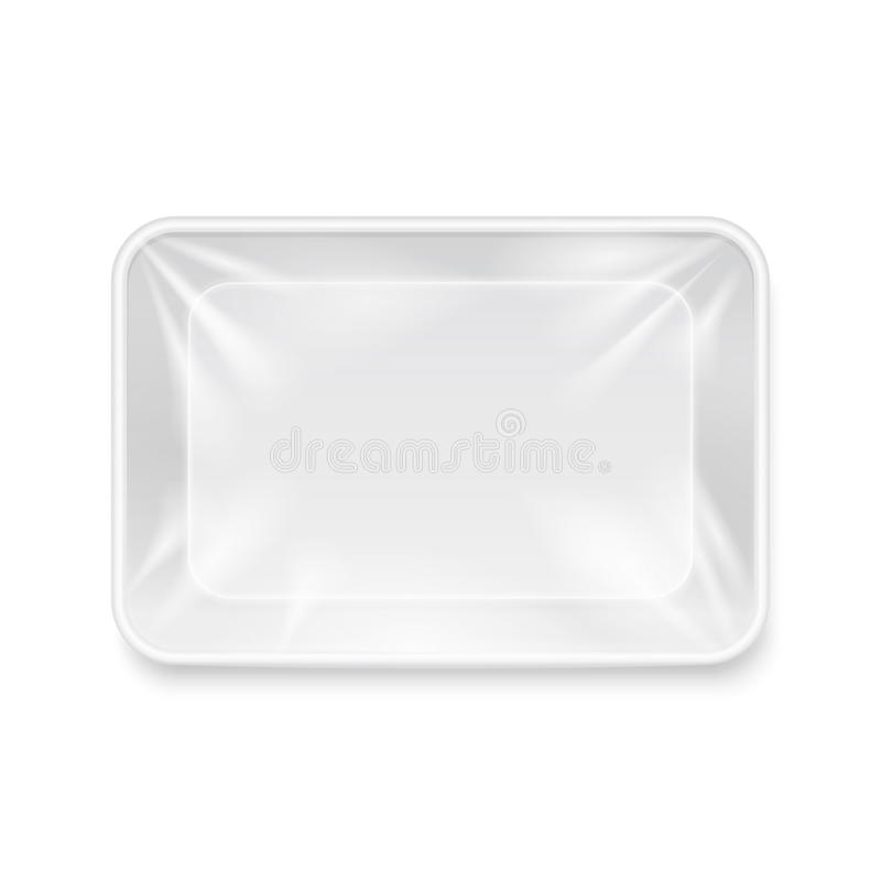 倒空白色塑料食盒,包装盘子传染媒介模板 向量例证