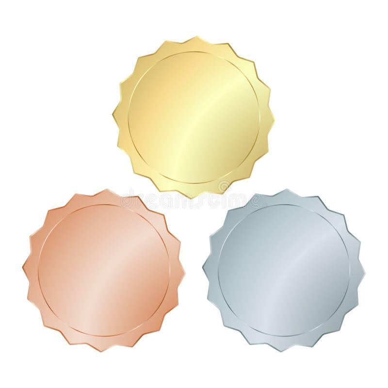 倒空空白的集合硬币、价牌、缝合的按钮、按钮、象或者奖牌的传染媒介模板与金子,银,发光的古铜 皇族释放例证