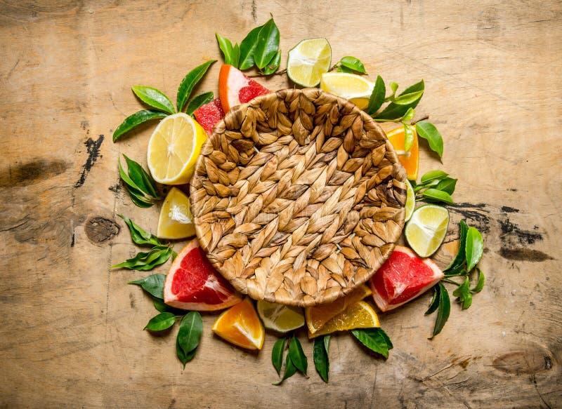 倒空篮子和柑橘-葡萄柚,桔子,蜜桔,柠檬,与叶子的石灰 免版税库存照片