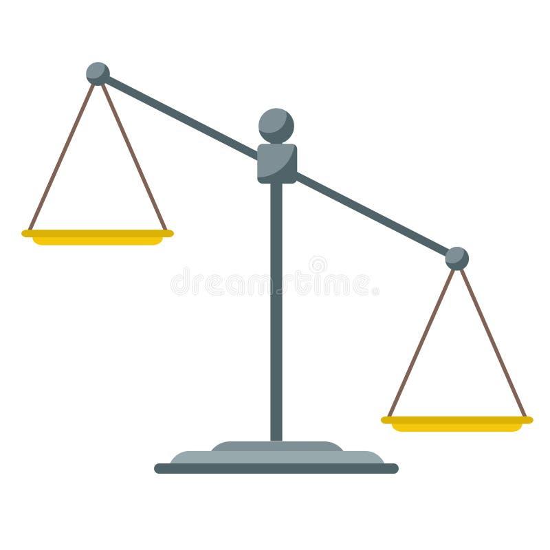 倒空缩放比例 在空白的缩放比例的查出的正义 法律平衡标志 天秤座 也corel凹道例证向量 库存例证