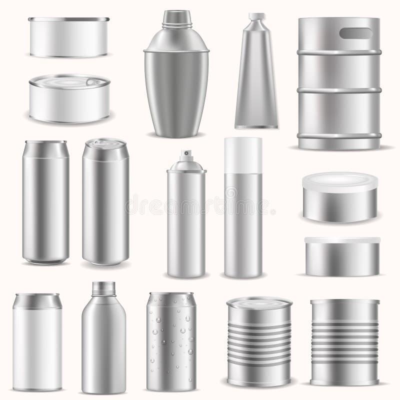 倒空阻拦银色铝包装传染媒介例证的组装箱子现实模板3d广告介绍 向量例证