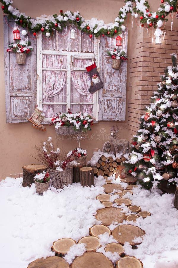 绊倒道路利兹对圣诞树 库存图片