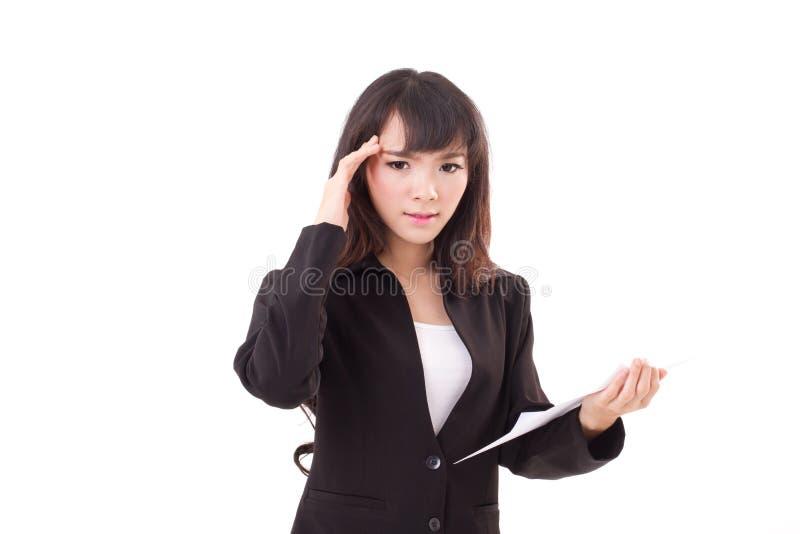 翻倒画象,恼怒,消极,沮丧的亚裔女商人 免版税库存照片
