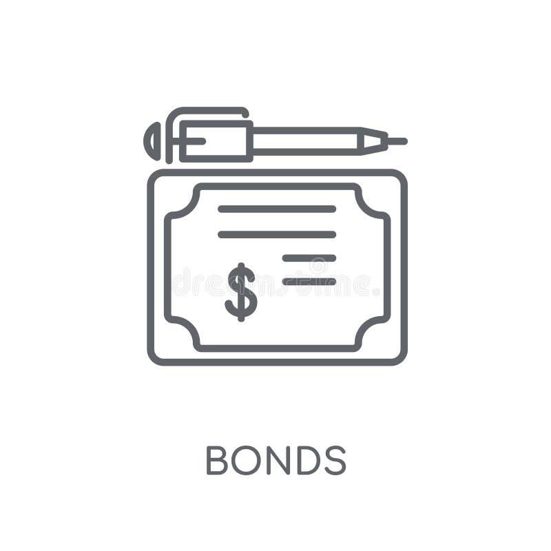 债券线性象 在白色ba的现代概述债券商标概念 库存例证