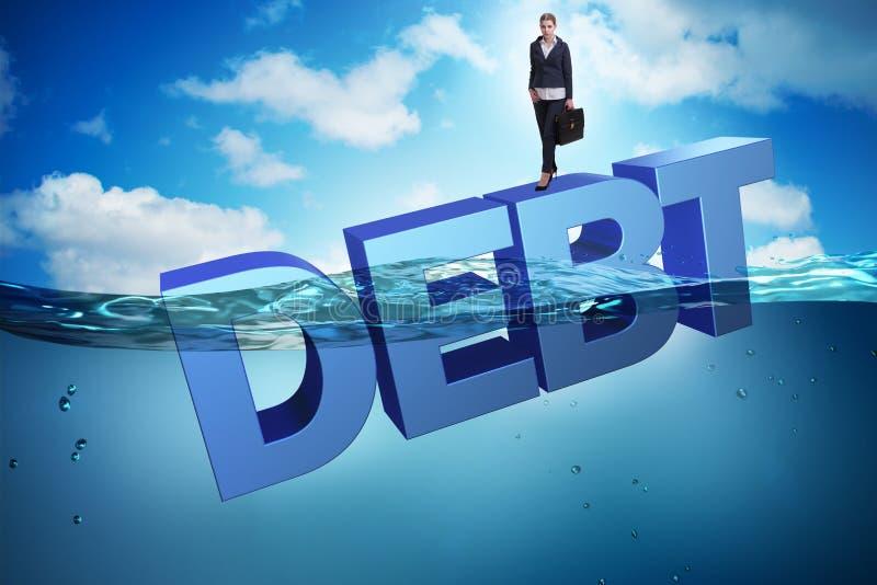 债务企业概念的女实业家 向量例证