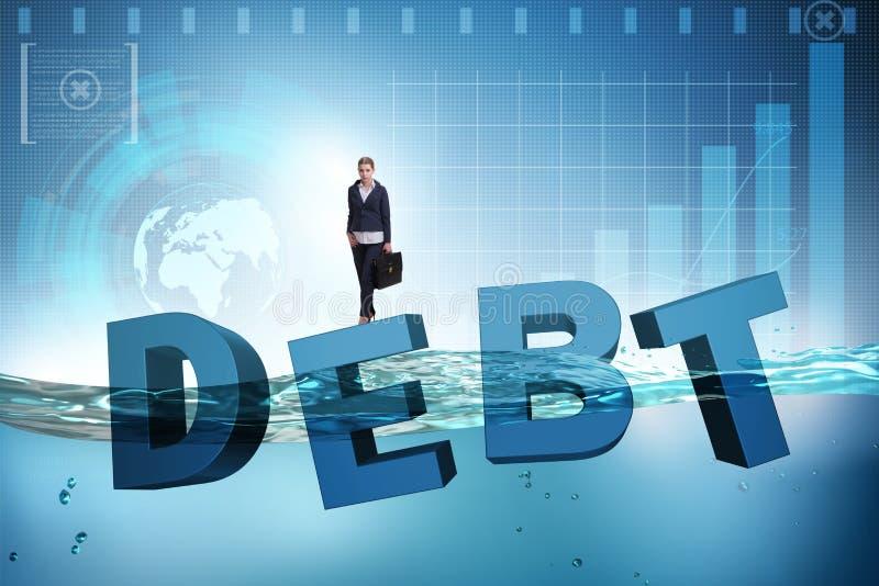 债务企业概念的女实业家 皇族释放例证
