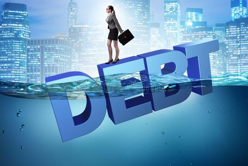 债务企业概念的女实业家 库存例证