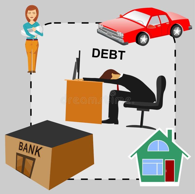 债务概念动画片,平的设计 向量例证