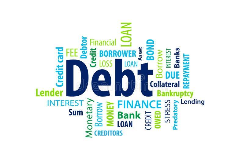 债务词云彩 向量例证