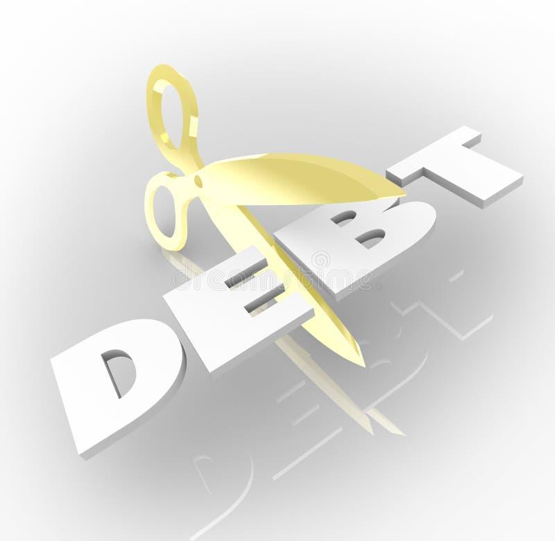 债务词剪切口被欠的费用金钱 库存例证