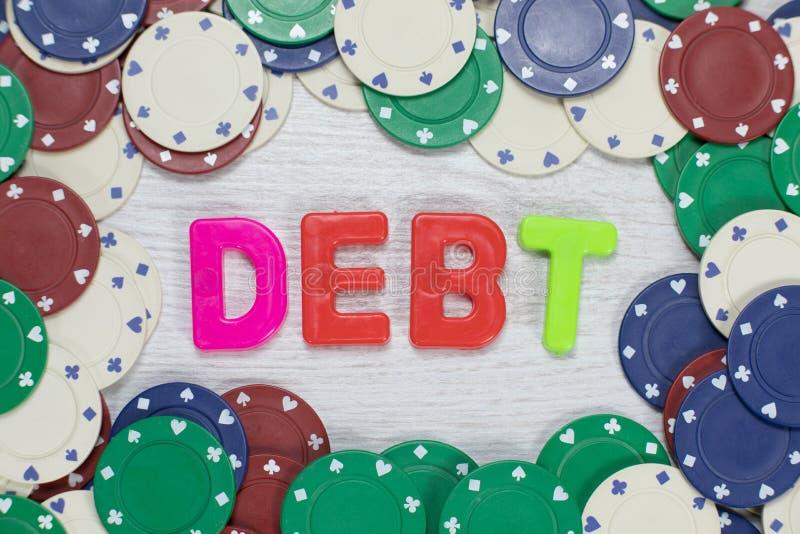 债务起因于赌博的概念 库存照片