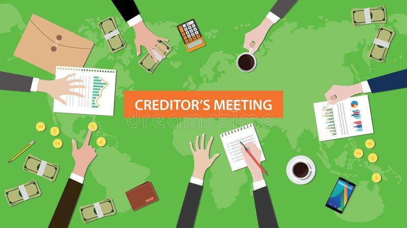 债权人会议在与文书工作和被乱丢的金钱的一个桌例证在桌顶部 向量例证