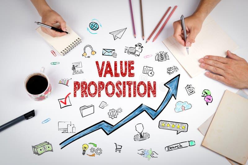 价值提议概念 会议在白色办公室桌上 库存图片