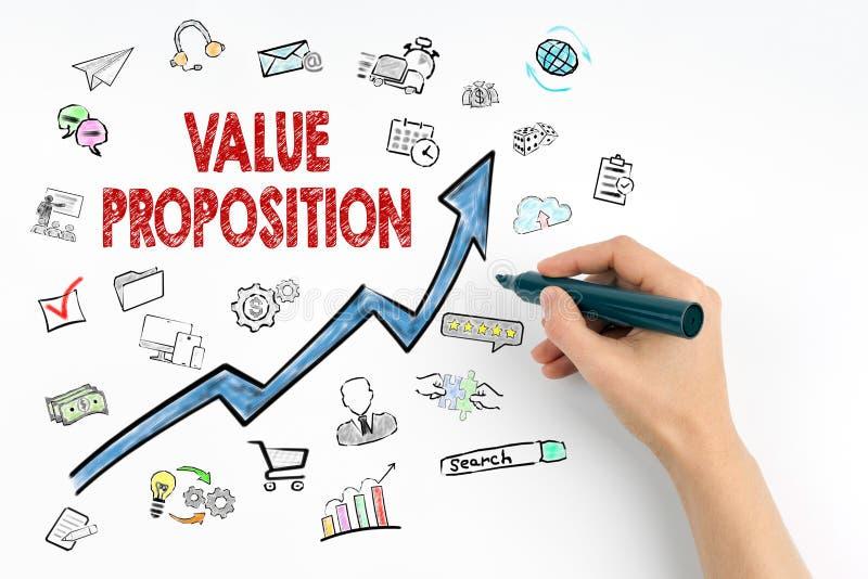价值提议概念 有标志文字的手 免版税库存照片
