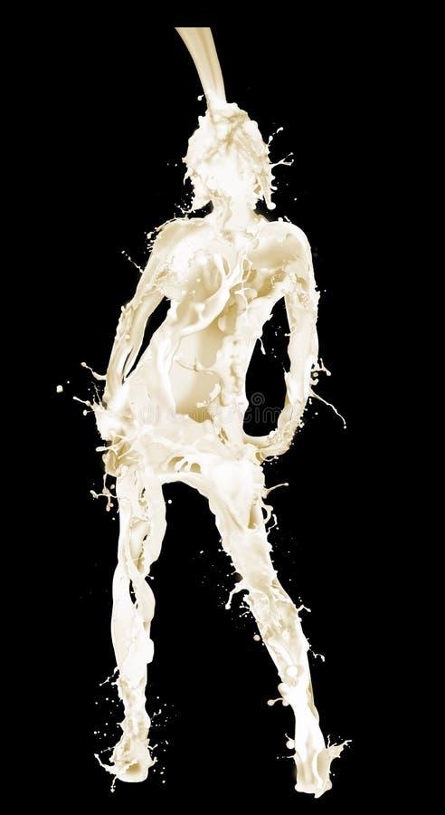倾吐在妇女形状的牛奶  免版税库存图片