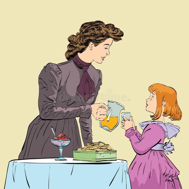 倾吐她的女儿的贵族母亲汁液 库存例证