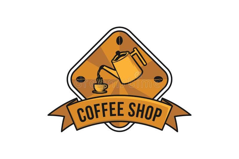 倾吐的咖啡,葡萄酒咖啡店商标启发隔绝在白色背景 向量例证
