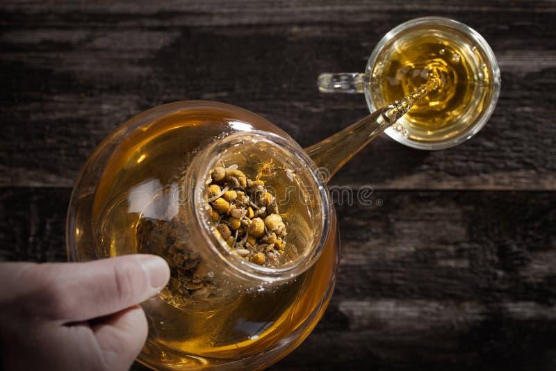 倾吐的热的甘菊茶 免版税库存图片