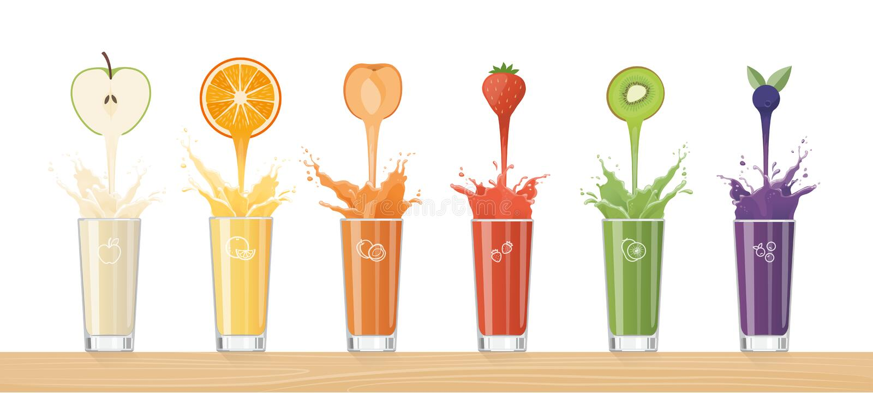 倾吐从五颜六色的果子的新鲜的汁液 皇族释放例证