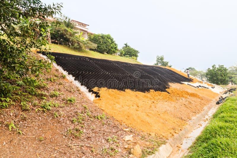 倾斜与栅格的侵蚀在陡坡的控制和地球 库存图片