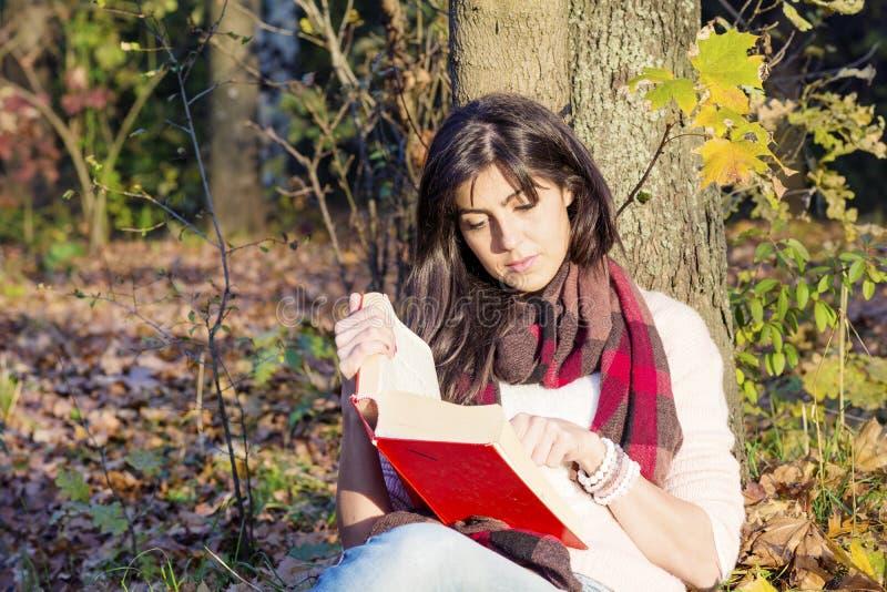 倾斜在与书的一棵树的一名美丽的妇女的画象在秋天公园 库存照片