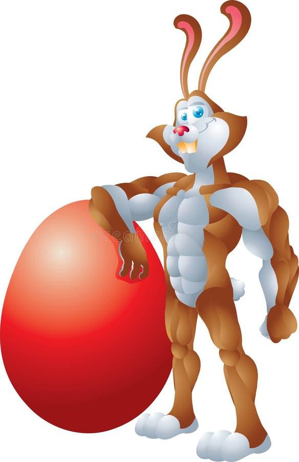倾斜在大鸡蛋的浅黄色的兔子 向量例证