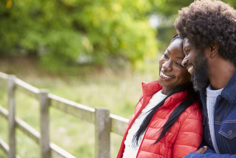 倾斜在她的男朋友肩膀的黑人妇女,站起来在乡下,关闭 免版税库存照片