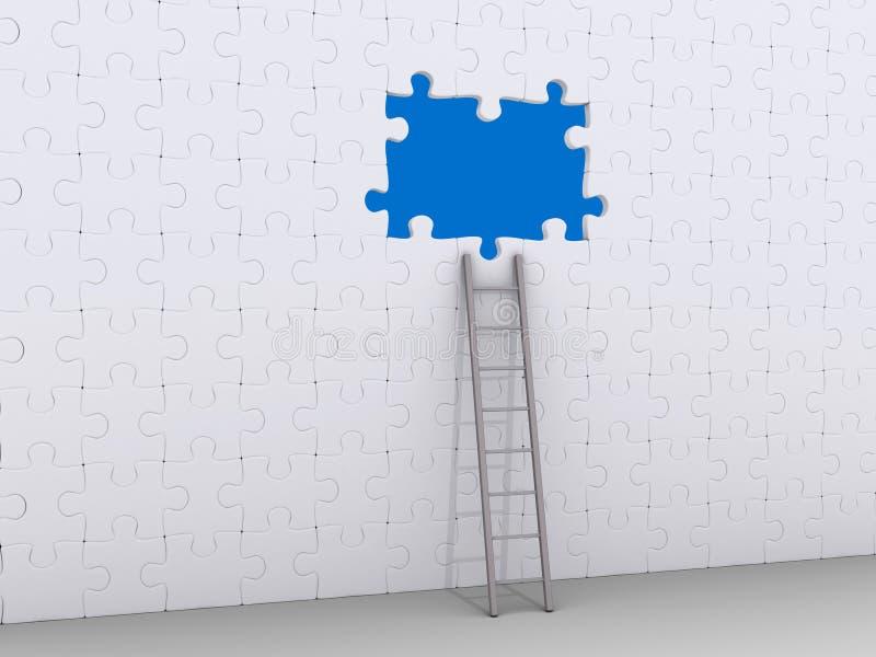 倾斜在有孔的难题墙壁的梯子 向量例证