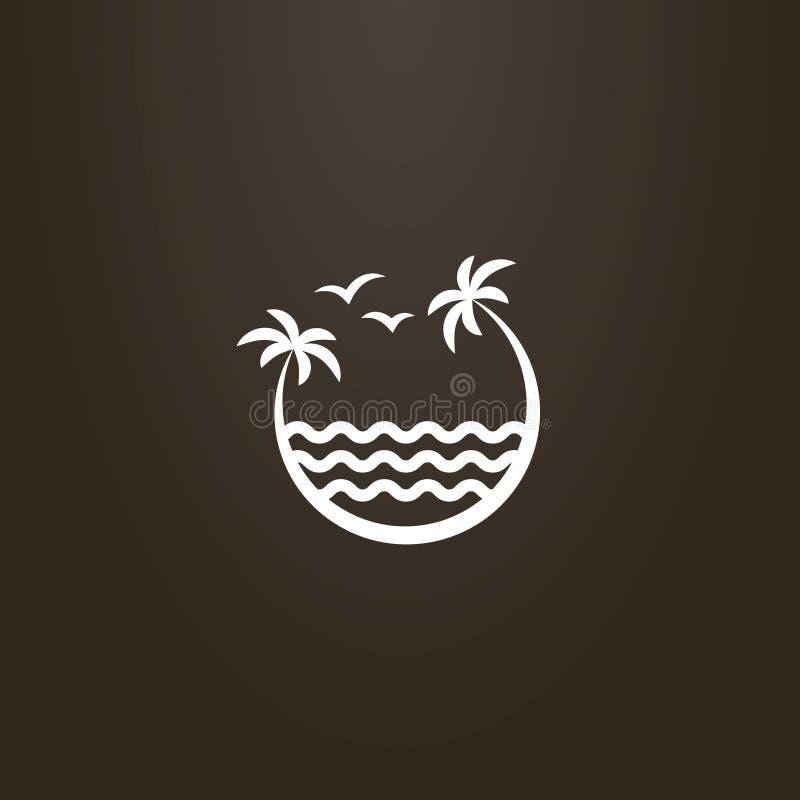 倾斜在海波浪的两棵棕榈树的标志 向量例证