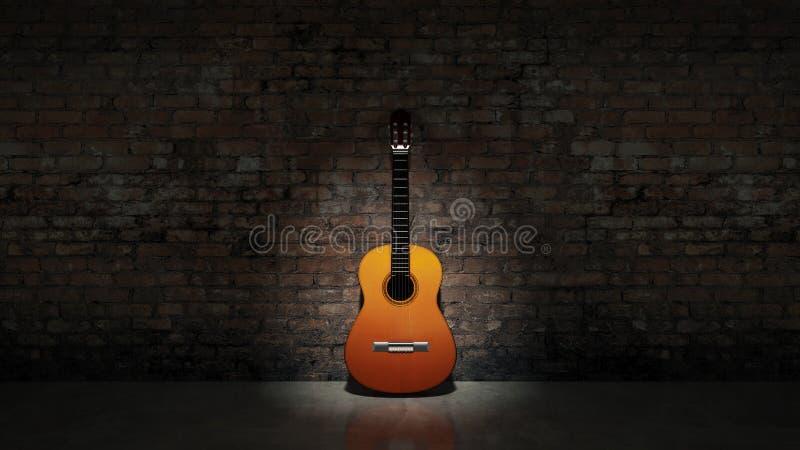 倾斜在脏的墙壁的声学吉他 向量例证