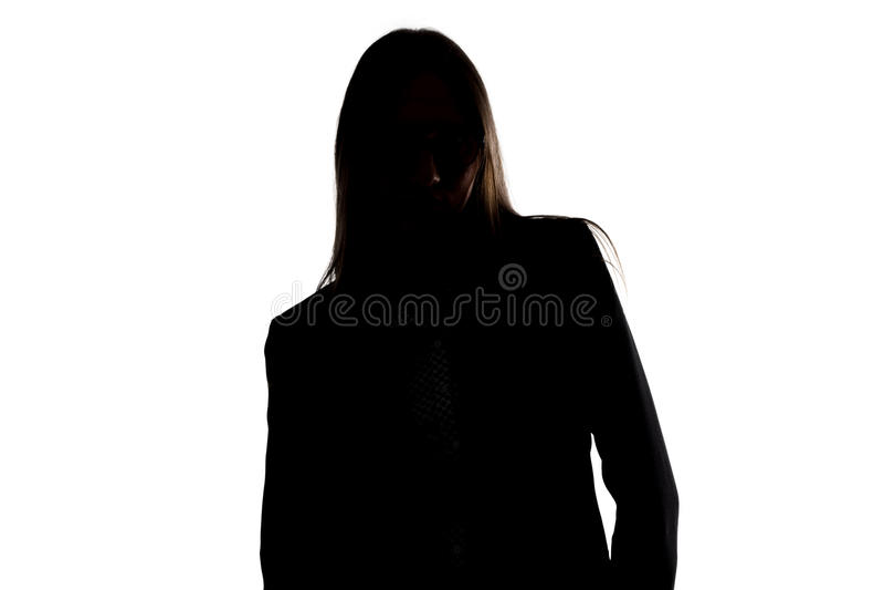 倾斜妇女的剪影的照片  库存图片