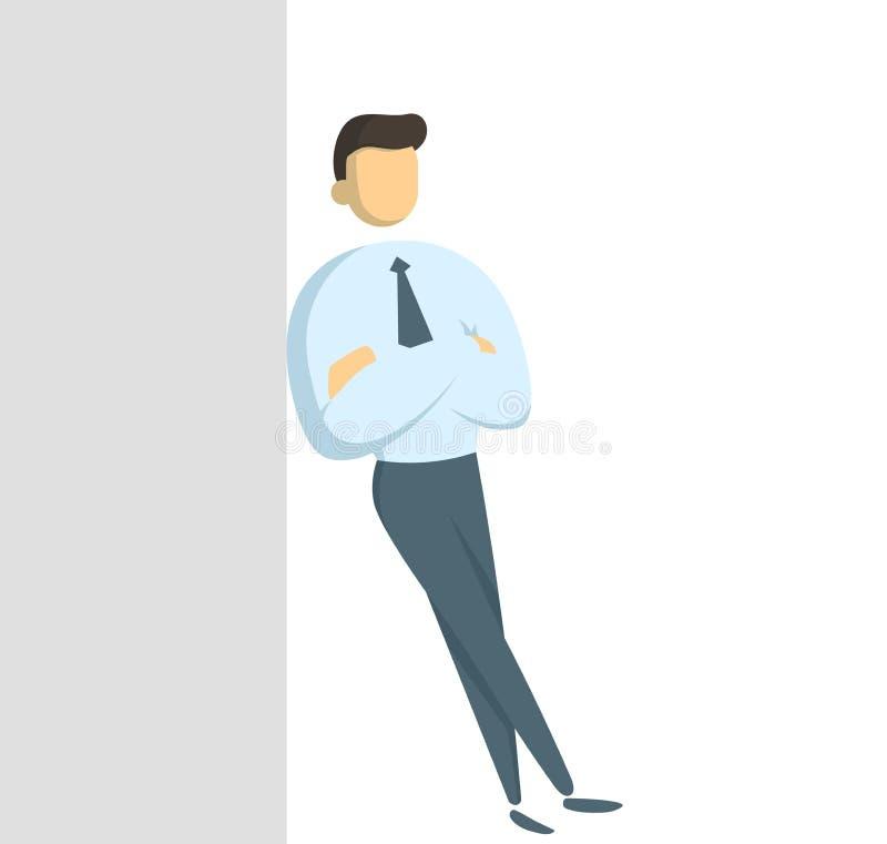 倾斜对有他的胳膊的灰色墙壁的白色衬衫身分的经理横渡了 横幅的概念,infographics或 库存例证