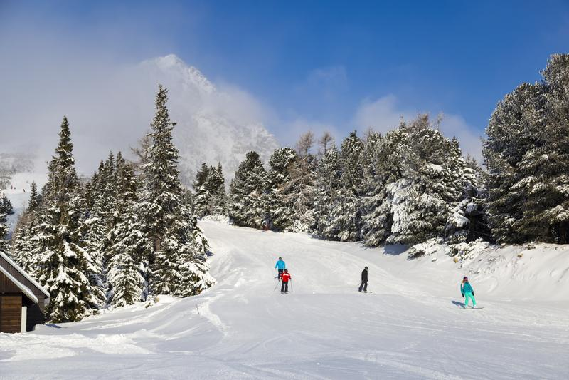 倾斜的滑雪者 冬天斯洛伐克 免版税库存图片