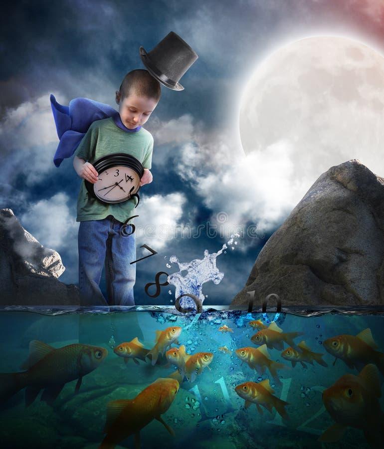 倾销时间的男孩在与时钟的水中 免版税库存照片