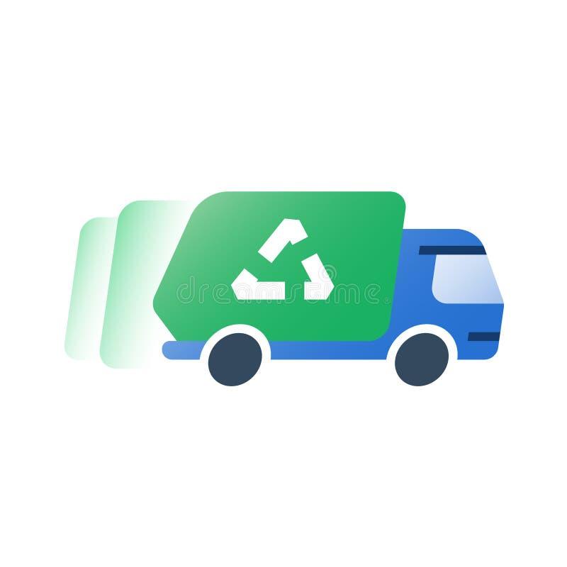 倾销车,垃圾撤除绿色卡车,快速的服务,收集垃圾 皇族释放例证
