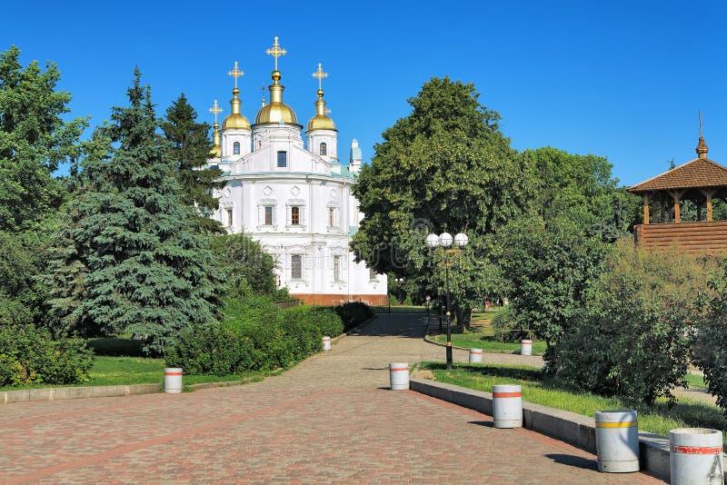 假定大教堂在波尔塔瓦,乌克兰 免版税库存图片