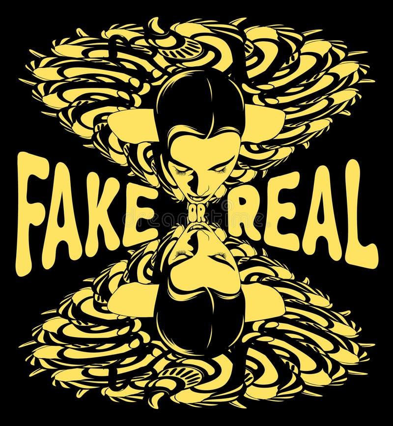 假或真正 妇女的传染媒介手拉的超现实主义的例证 皇族释放例证